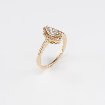 14KT Yellow Gold 0.89CT T/W Diamond Engagement Ring