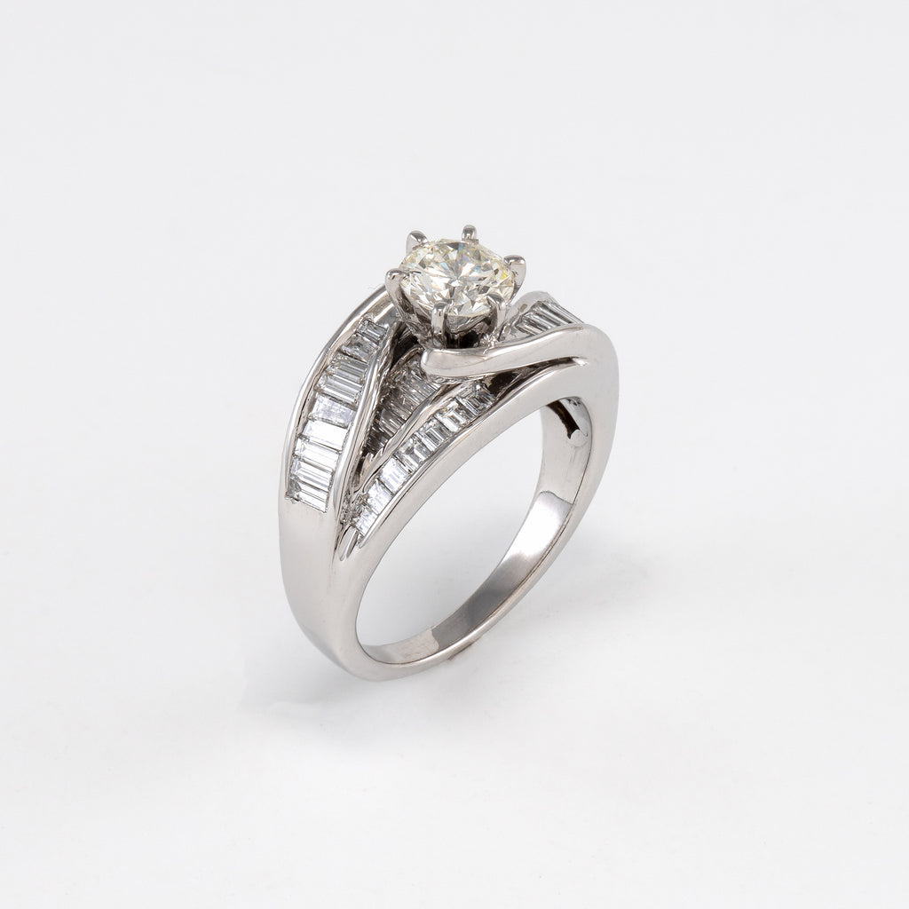 14KT White Gold 2.85CT T/W Diamond Engagement Ring
