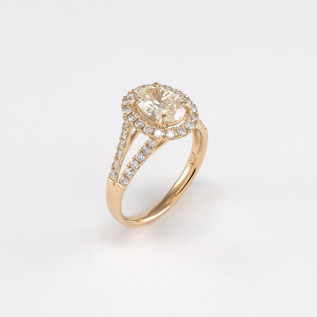 14KT Yellow Gold 1.59CT T/W Diamond Engagement Ring