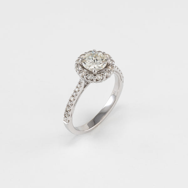 14KT White Gold 1.41CT T/W Diamond Engagement Ring