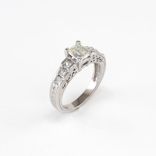 14KT White Gold 1.38CT T/W Diamond Engagement Ring