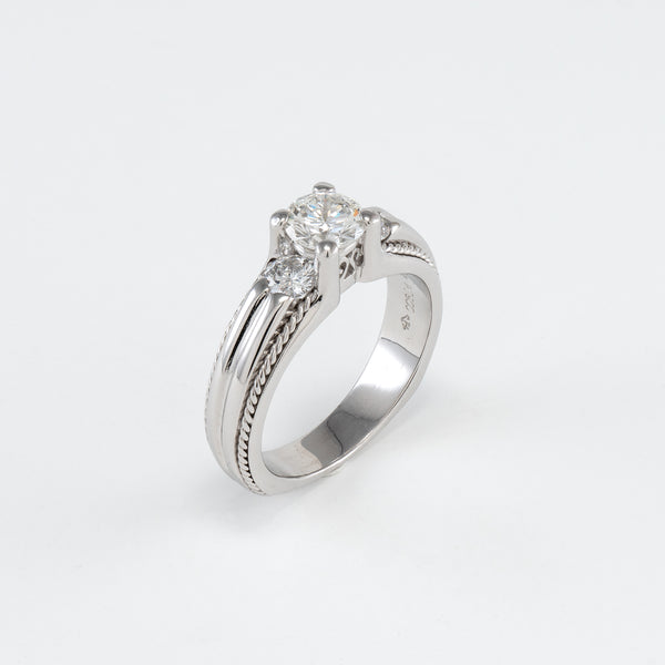 Platinum 1.15CT T/W Diamond Engagement Ring
