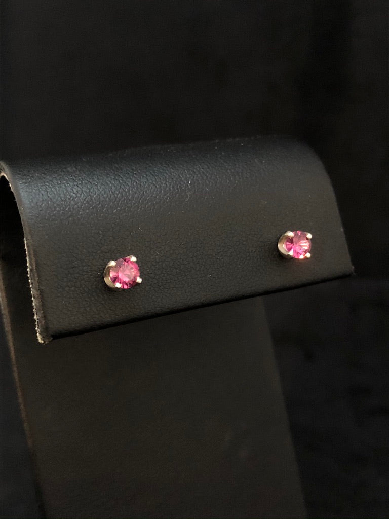 Sterling Silver Rhodolite Garnet Stud Earrings