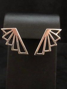 Sterling Silver Large Deco Fan Earrings