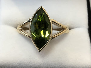 9ct Yellow Gold Marquise Peridot Solitaire Ring