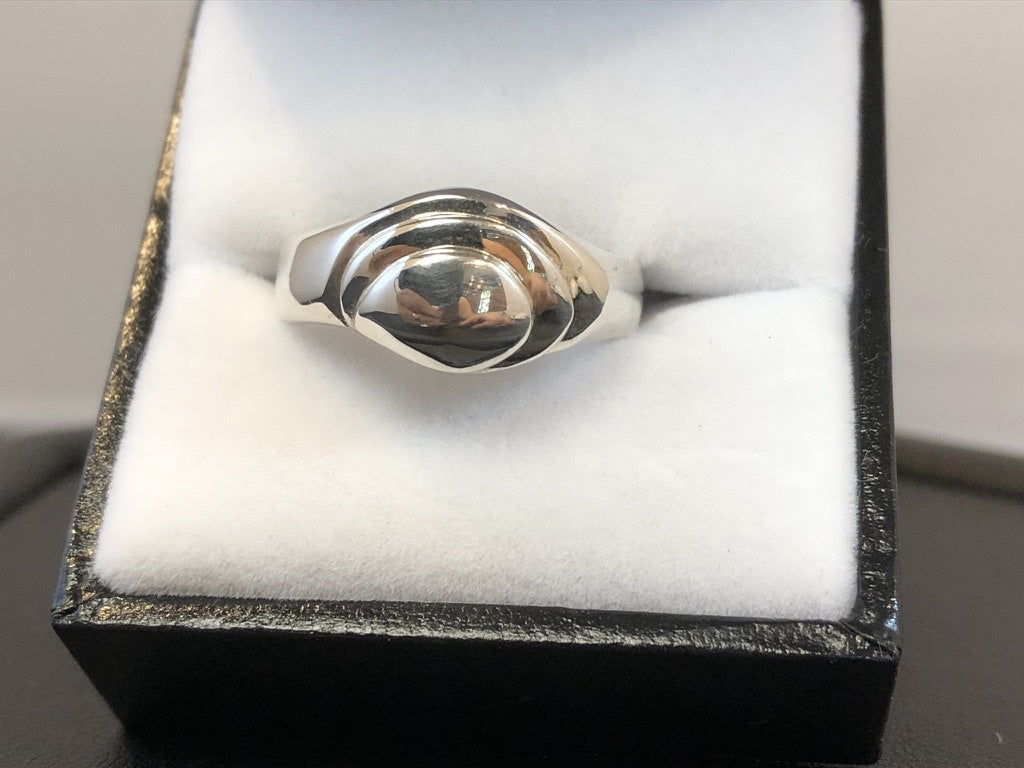 Sterling Silver Grooved Offset Dress Ring
