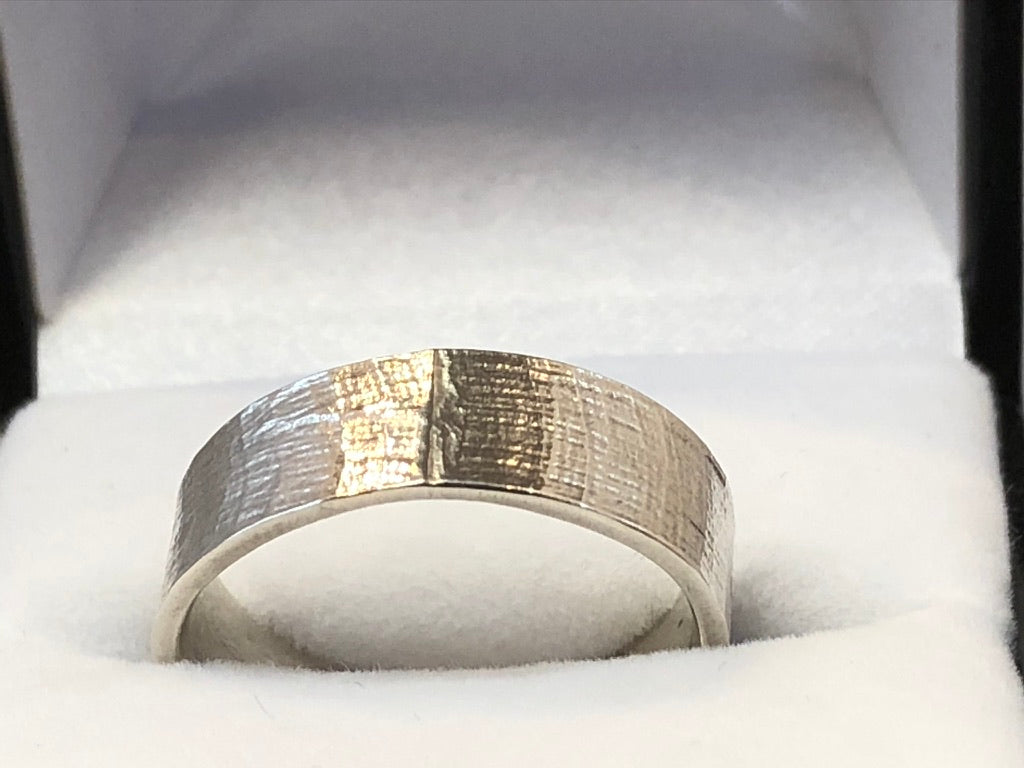 Reticulated Silver Wedding Ring