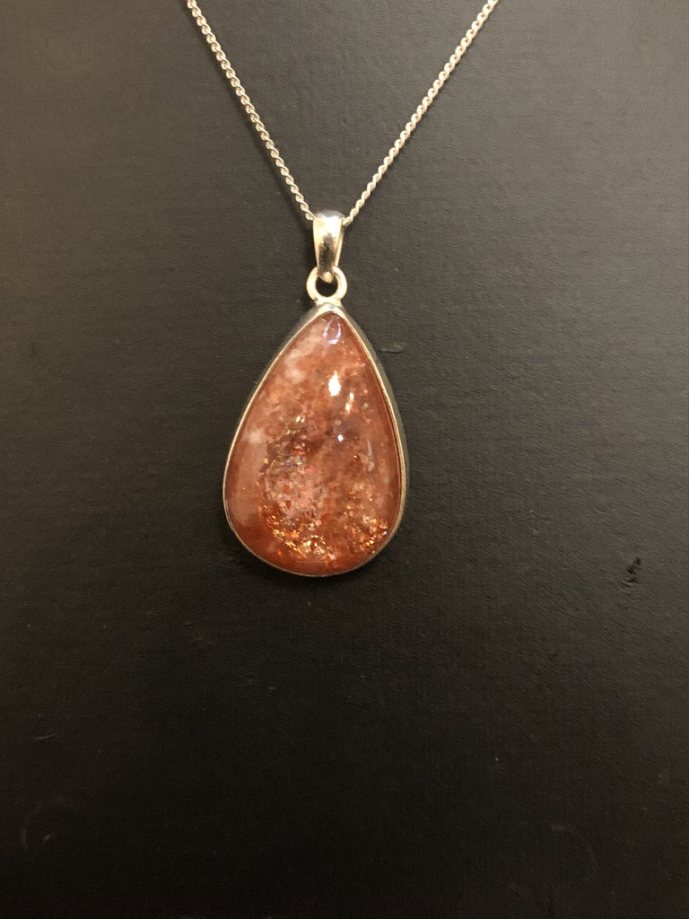 Sterling Silver Teardrop Rubover Set Sunstone Pendant