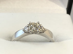 9ct White Gold 3-Stone Diamond Ring