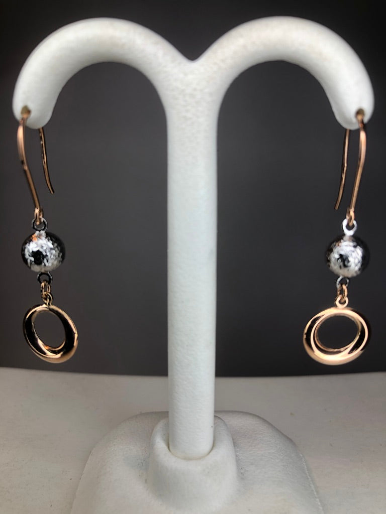 9ct White & Rose Gold Drop Earrings