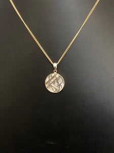 9ct Yellow Gold & Sterling Silver Gibeon Meteorite Pendant