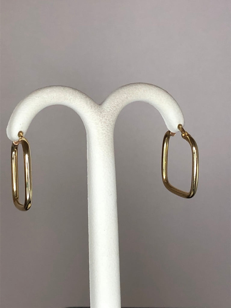 9ct Yellow Gold Square Hoop Earrings