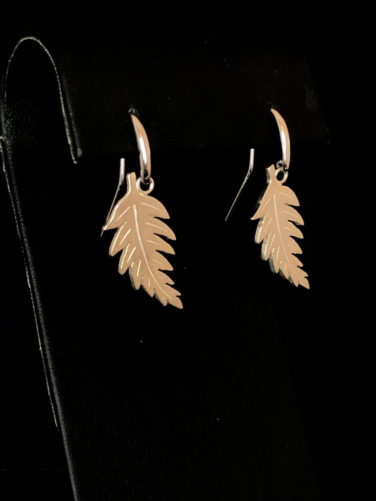 Sterling Silver Large Fern Charm Earrings