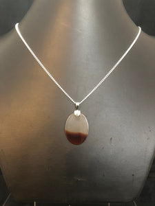 Sterling Silver White/Brown Agate Pendant