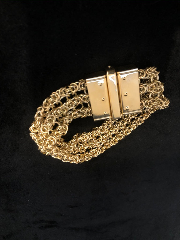 9ct Yellow Gold Byzantine Link Bracelet 91g