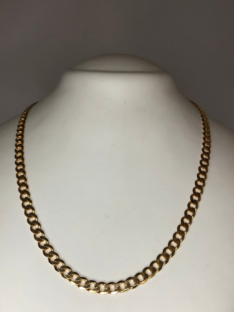 9ct Yellow Gold Flat Bevelled Diamond Cut Curb Chain