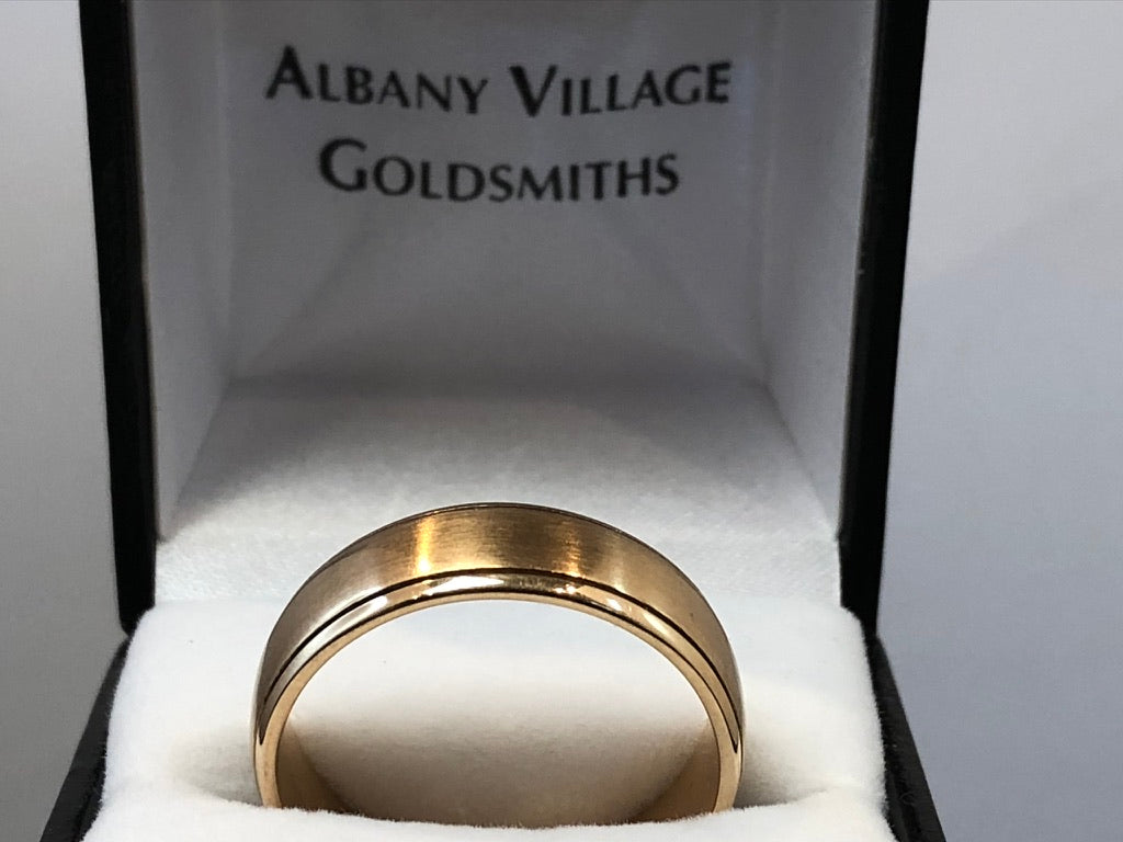 9ct Rose Gold Grooved Wedder