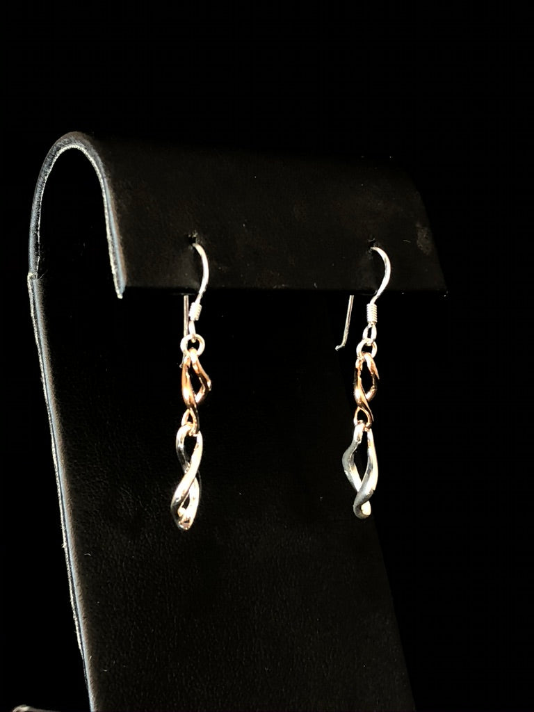 Sterling Silver Rose Infinity Earrings