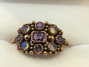 9ct Rose Gold Amethyst & Opal Ring