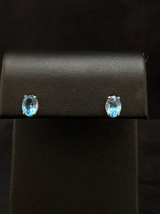 Sterling Silver Swiss Blue Topaz Stud Earrings