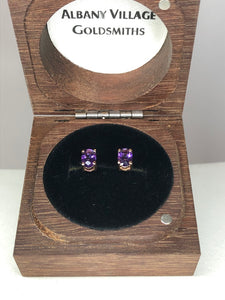 9ct Rose Gold & Amethyst Studs