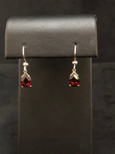 Sterling Silver Garnet Drop Earrings on Hooks