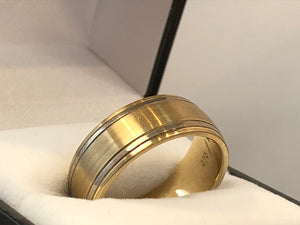 9ct Yellow Gold 8mm Wedding Ring with Silver Inlay