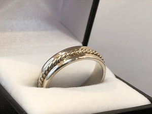 Sterling Silver Wedding Ring Rope Centre