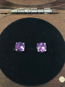 9ct White Gold & Amethyst Earring Studs