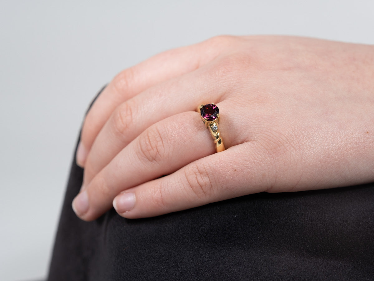 18ct Yellow Gold Pink Tourmaline & Diamond Ring