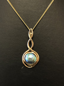 9ct Yellow Gold Paua Pearl Double Twist Pendant
