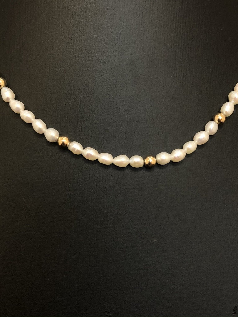 9ct Yellow Gold Rice Pearl & Bead Necklace