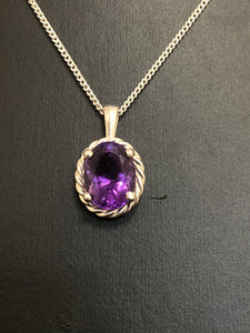 Sterling Silver Amethyst Pendant with Rope Rim