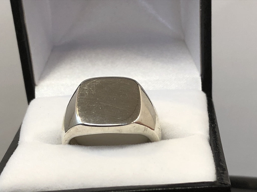 Sterling Silver Cushion Signet Ring