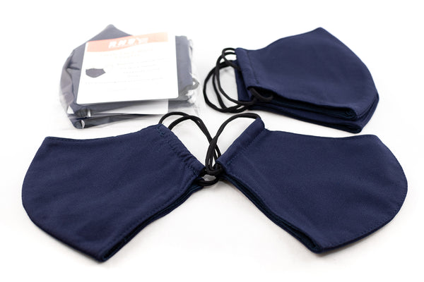 Washable and Reusable Adult Unisex Face Mask Covering - 3-Ply - Dark Blue