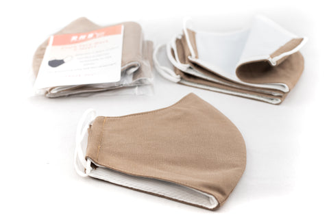 Washable and Reusable Adult Unisex Face Mask Covering - 3-Ply - Beige