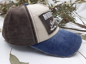 Distressed Baseball Cap - Coffee/Denim