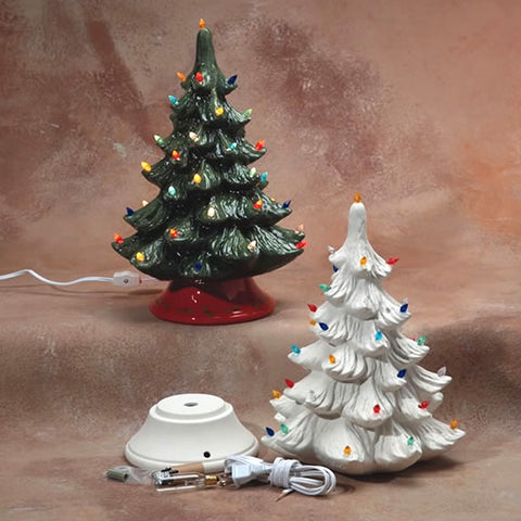 Christmas Tree with Base and Lights-14""