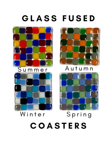 Coasters-Fused Glass-Clear Base Set of 4