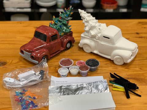 Truck with Christmas Tree with Step by Step Instructions