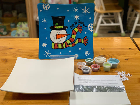 Let It Snow Plate with Step by Step Instructions