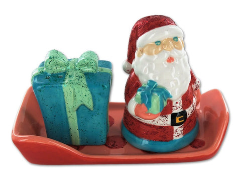 Santa, Present and Sleigh Salt and Pepper Shakers with Stoppers