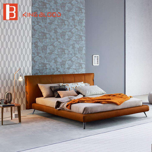 Italian genuine cowhide leather bed frame designs bedroom furniture leather bed - Gustobene
