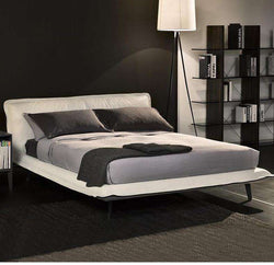 NNordic luxury and minimalist style, first layer leather leather bed, Italian minimalist designer furniture - Gustobene