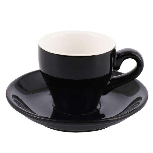 80ml Espresso Mug Italian Simplicity Color Ceramic Small Capacity Cup And Saucer Set Household Restaurant Coffee Cups With Spoon - Gustobene