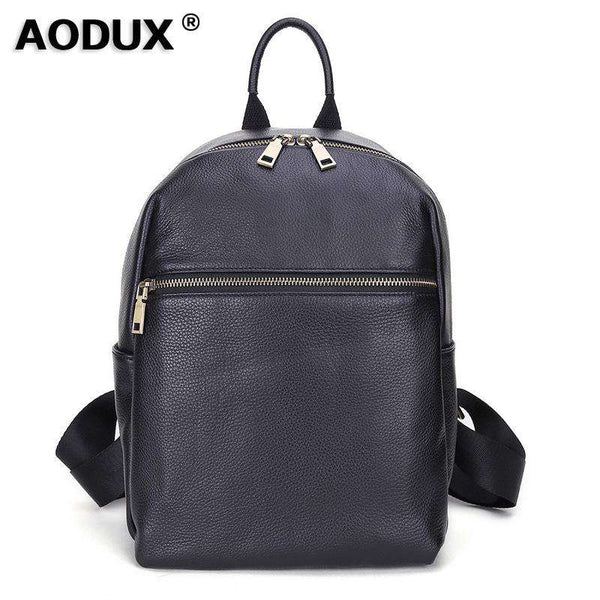 AODUX Italian 100% Genuine Cow Leather Calfskin Women School Backpack Top Layer Cow Leather Female Shoulder Bag Ladies Backpacks