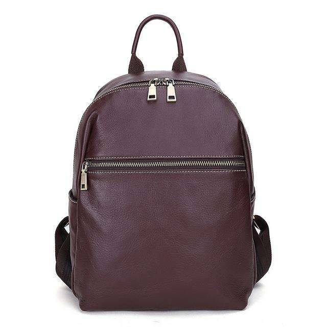 AODUX Italian 100% Genuine Cow Leather Calfskin Women School Backpack Top Layer Cow Leather Female Shoulder Bag Ladies Backpacks - Gustobene