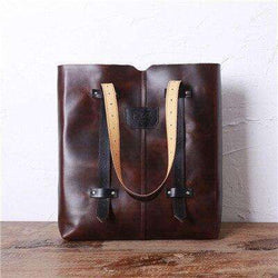Original Design Women Shoulder Bag Leather Vintage Top-handle Bags Italian Genuine Leather Ladies Tote Bag  Leather Handbags - Gustobene