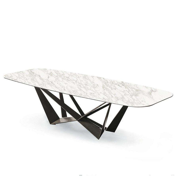 Luxury Italian Marble Top Butterfly Dining Table / Sintered Stone Tabletop - Gustobene