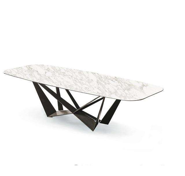 Luxury Italian Marble Top Butterfly Dining Table / Sintered Stone Tabletop